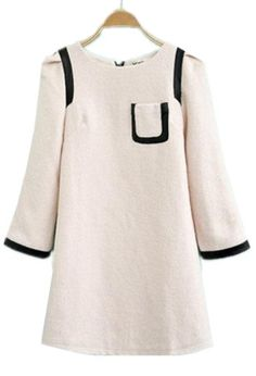 Light Pink Contrast Leather Trims Pocket Dress - Sheinside.com $60