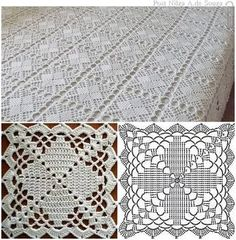 Top 4 crochet tablecloth pattern you will like crochet tablecloth pattern copriletto a mattonelle YKSNBID Very pretty granny square via This Pin was discovered by Sou I'm in love with this bedsprea Crochet Tablecloth Pattern, Crochet Bedspread Pattern, Crochet Square Patterns, Crochet Blocks, Crochet Diagram, Crochet Chart, Crochet Squares, Thread Crochet, Crochet Motif