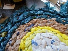 How to Make a Rug From Plastic Grocery Bags : 11 Steps (with Pictures) - Instructables Plastic Bag Crafts, Plastic Bag Crochet, Scrap Yarn Crochet, Recycled Plastic Bags, Plastic Grocery Bags, Recycled Crafts, Recycled Clothing, Recycled Fashion, Diy Crafts