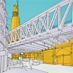 Southwark, London. #southwark #london #print #art #architecture #blue #yellow. © Tommy Penton 2014