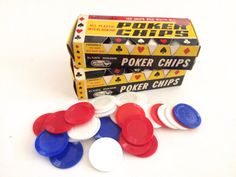 Vintage Poker Chips Boxes Pair NOS Red White by PoolhausVintage