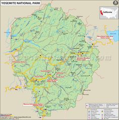- NEWS - California wildfire destroys homes near Yosemite Yosemite map Yosemite National Park Map, National Parks Map, Us State Map, Us Map, California Usa, Yosemite California, Mountain Trails, Wall Maps, Picnic Area