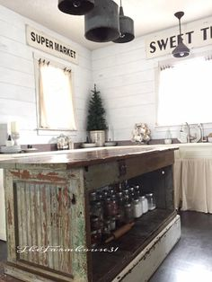 Vintage Farmhouse Kitchen Islands: Antique Bakery Counter for Sale.  This beautiful island by The Farmhouse 31