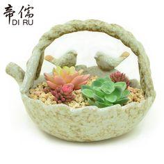 OLOEY Succulent Plants Flower Basket Pot Europe Green Ceramic Garden Flowerpot Cute Birds Animal Home Desktop Plants Pot Planter. Yesterday's price: US $54.00 (44.49 EUR). Today's price: US $27.00 (22.17 EUR). Discount: 50%.