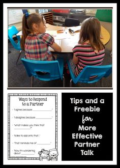 """Ideas and a sentence starter freebie to help make """"turn and talks"""" or """"Think Pair Shares"""" more productive!"""