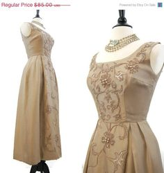 REDUCED 60s Gown Vintage Mocha Silk with Soutache by voguevintage, $72.25