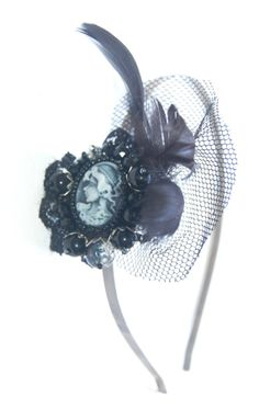 Gothic cameo headband with feather and lace by Aesthetica91, $15.00