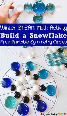 Learning Center Build a Snowflake Symmetry Circle Math Activity and Free Printable: Kids can play with loose parts as they learn about symmetry with this easy hands on learning activity. Symmetry Activities, Winter Activities For Kids, Steam Activities, Preschool Winter, Kindergarten Activities, Preschool Activities, Preschool Classroom, Classroom Ideas, Advent Activities
