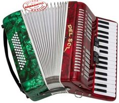 DEL SOL PIANO ACCORDION 48 BASS 34 KEYS 5 SWITCH MEXICAN FLAG by Del Sol. $499.95. This Del Sol Piano accordion 5 Switch 34 Piano Keys and 48 bass keys features Italian Style decorations and pearlescent colors. There are single straps hooks on each side of the accordion with plenty of room for the two extra long leather padded shoulder straps. The accordion also includes an adjustable left hand strap. A slide lever air valve makes for faster air intake. The ac...