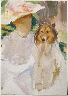 John Singer Sargent (American, 1856–1925). Woman with Collie, after 1890. The Metropolitan Museum of Art, New York. Gift of Mrs. Francis Ormond, 1950 (50.130.27) #dogs