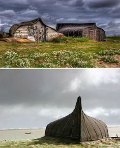 Repurposed fishing boats ~ now storage sheds. Fishing vessels no longer fit for the sea make stunning rustic roofs for storage sheds in the UK. Already water-tight, the vessels are flipped upside down and sliced on one side to allow installation of a door.