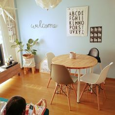 c-sanさんの、リビング,観葉植物,IKEA,テレビ台,北欧,セリア,六畳,アパート,丸いテーブル,イームズチェア,テレビ台DIY,デザインレターズ,模様替え病発症中,【祝】初いいね!100人有難う御座います,のお部屋写真