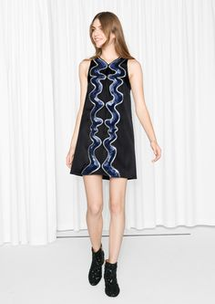 & Other Stories image 1 of Swirl Of Sequins Dress in Black