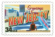 The New Jersey State Postage Stamp  Depicted above is the New Jersey state 34 cent stamp from the Greetings From America commemorative stamp series. The United States Postal Service released this stamp on April 4, 2002. The retro design of this stamp resembles the large letter postcards that were popular with tourists in the 1930's and 1940's.