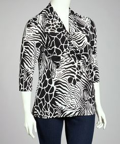 Look at this #zulilyfind! Black & White Jungle Three-Quarter Sleeve Top - Plus #zulilyfinds