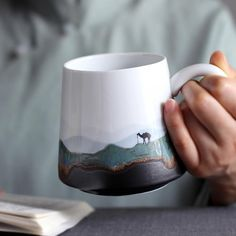 Pastoral Mountain Water Art Coffee Cup Milk Mug Cactus Ceramic, Ceramic Cups, Wooden Cake Stands, Novelty Mugs, Water Art, Rustic Cake, Marble Pattern, Statue, Decoration Home