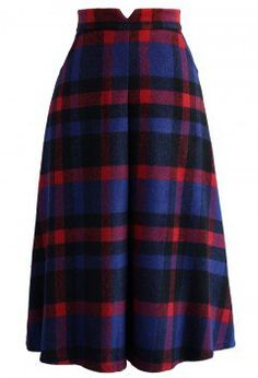 Timeless Plaids Wool-blend Midi Skirt - New Arrivals - Retro, Indie and Unique Fashion