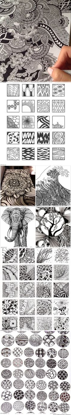 Zentangle Patterns & Ideas I did not realize all the patterns had names!! …