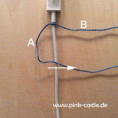DIY Macrame Ladekabel - Coverup mit Stickgarn in deinen Wunschfarben. Viele weitere DIY Tutorials auf www.pink-caste.de