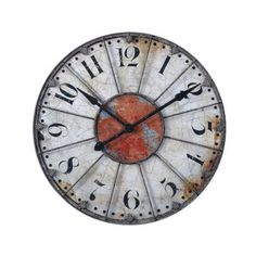 "Uttermost 06664 Ellsworth 30"" Diameter Metal Wall Clock Crackled ($205) ❤ liked on Polyvore featuring home, home decor, clocks, crackled ivory, wall clocks, round clock, uttermost wall clocks, metal wall clock, wall mount clock and metal home decor"