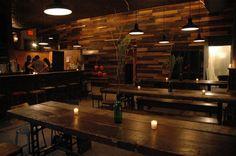 wine bar construction   Wine Bar reclaimed wood wall