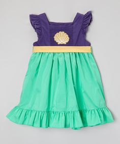 Look what I found on #zulily! Smock Candy Purple & Green Seashell Princess Dress - Infant, Toddler & Girls by Smock Candy #zulilyfinds