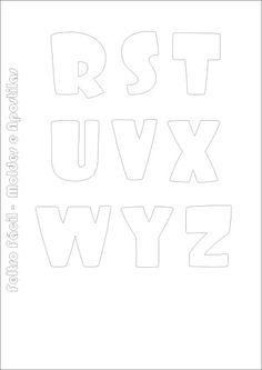 Molde de Letras do Alfabeto em Feltro! Para fazer o download de mais modelos, clique na foto e acesse o site  alfabeto em feltro, felt alphabet, felt letter, felt names, letras em feltro, molde do alfabeto, nomes em feltro