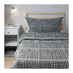 IKEA - BJÖRNLOKA RUTA, Duvet cover and pillowcase(s), Full/Queen (Double/Queen), , Concealed snaps keep the comforter in place.