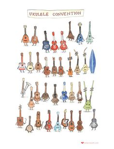 We've been busy stocking the Ukulele store with awesome products sourced from artisans around the world and are excited to share our latest finds with you. Today, meet the 'Ukulele Conventio… Ukulele Drawing, Arte Do Ukulele, Ukulele Store, Cool Ukulele, Ukulele Songs, Ukulele Chords, Guitar Tabs, Ukulele Tattoo, Uke Tabs