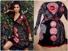 DESIGUAL, robe en jersey noir et rouge, col V, longues manches, taille L.  eBay 68d6a6766a9