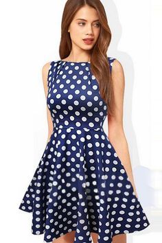 Fashion O Neck Tank Sleeveless A Line Blue Cotton Mini Dress