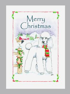Poodle White Christmas Cards Box of 16 Cards and Envelopes