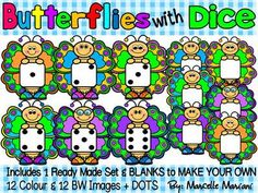 BUTTERFLIES WITH DICE- BUTTERFLY CLIP ART- Personal & commercial use (24 images) from KinderPrep on TeachersNotebook.com -  (24 pages)  - This package consists of 12 colour images and 12 Black and white high resolution 300dpi BUTTERFLIES THAT ARE EACH HOLDING ONE DIE (DICE).