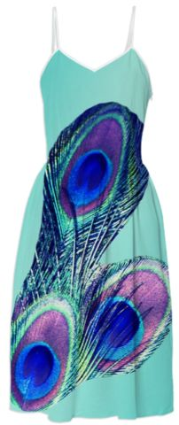 Peacock Feather Turquoise Summer Dress  #peacock #SummerDress