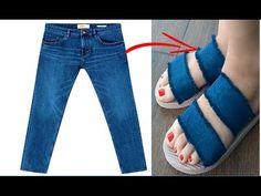 Crochet Sandals using Flip Flop Soles Remake Clothes, Diy Clothes, Jean Diy, Jean Sandals, Decorating Flip Flops, Denim Handbags, Old Jeans, Shoes With Jeans, Pattern Cutting