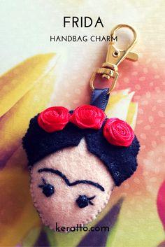 Frida Facedoll in red, handmade in felt. #frida #kahlo #mexican #art #doll…
