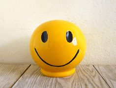 Vintage 70s McCoy Smiley Face Bank by NellieFellow on Etsy, $32.00