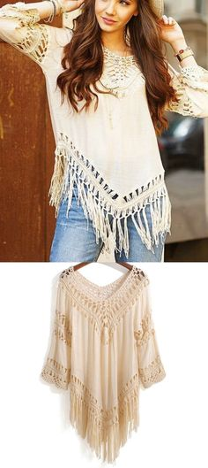 $31.00 - A Bohemian Fringe Blouse in Beige from Pasaboho. This top exhibit brilliant design with unique patterns. ❤️ bohemian :: boho fashion :: gypsy style :: hippie chic :: boho chic :: outfit ideas :: boho clothing :: free spirit :: fashion trend :: flowers :: floral :: lace :: summer :: fabulous :: love :: street style :: fashion style :: boho style :: modern vintage :: ethnic tribal :: boho bags :: embroidery dress :: tops :: boho style :: boho trend