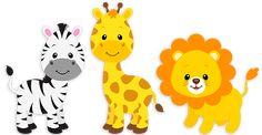 Safari zebra, giraffe and lion Safari Theme Birthday, Jungle Theme Parties, Safari Party, Animal Birthday, Safari Png, Animal Cutouts, Jungle Animals, Wild Animals, Kind Mode