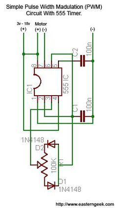 Eastern Geek: Simple (and dirty) Pulse Width Modulation (PWM) For Motor Speed Control Electronic Circuit Projects, Electrical Projects, Electronic Engineering, Electrical Engineering, Led Projects, Electrical Wiring, Hobby Electronics, Electronics Components, Electronics Projects