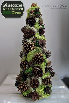 Pinecone Decorative Tree - After getting rid of a large vase that held a bunch of pines cones, I had pine cones galore just waiting to be turned into something.…