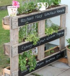 Green garden ideas - urban gardening is all the rage!- Grüne Garten-Ideen – Urban Gardening liegt voll im Trend! DIY garden idea easy with a pallet for plants *** DIY garden idea for organizing plants with a pallet - Herb Garden Pallet, Diy Herb Garden, Pallets Garden, Garden Beds, Wood Pallets, Spice Garden, Pallet Gardening, Pallet Planters, Herbs Garden