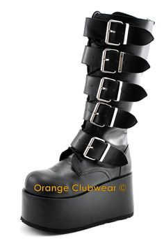 85dc7ad63db RESERVED    New Rock black platform shoes Buckle Goth moto Grunge Clubkid  Steampunk 90s vintage shoes boots gothic lolita metal goth cyber