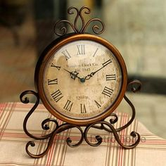 Fashion vintage iron desktop clock with silent clock movement crafts home decoration home watch relogio de mesa horloge 17-inDesk & Table Clocks from Home & Garden on Aliexpress.com   Alibaba Group