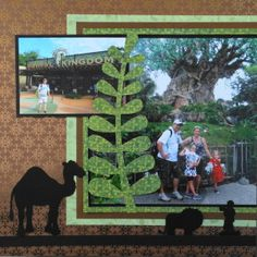 Disney Scrapbook Page. A 2 page Animal Kingdom layout with animal silhouettes and the Tree of Life from Travel Album 20 – Disney World