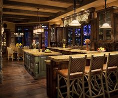 Log home kitchen, Whitefish, Montana