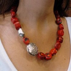 Red coral stones statement necklace with oxidized by Ellishshop, $180.00