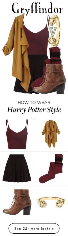 """Gryffindor (Harry Potter Series)"" by fabfandoms on Polyvore featuring BaubleBar, H&M, Glamorous, Charlotte Russe and Chicnova Fashion"