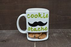 Dad's Cookie Stache - Ceramic Cookies and Milk Dunk Mug - Green Text