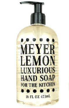 Meyer Lemon Liquid Hand Soap by Greenwich Bay Trading Company. Enriched with shea butter, cocoa butter, thyme leaf oil, and orange, grapefruit & lemon extracts.